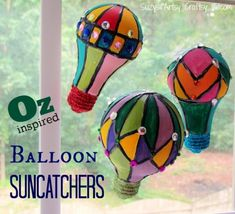 recycl light, balloon suncatch, balloon crafts, hot air balloons, light bulb, kid