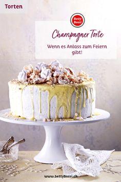Diese Torte ist Anlass zum Feiern mit weisser Schokolade, Meringue und rahmig zartem Champagnerteig. Meringue, Vanilla Cake, Food And Drink, Desserts, White Chocolate, Champagne, Cake Ideas, Dessert Ideas, Food Food