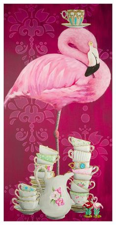 What's a pretty pink flamingo doing balancing a teacup on its head? Shop this and more eclectic animal art from Heather Gauthier. Our canvas wall art an Flamingo Decor, Pink Flamingos, Flamingo Painting, Decoupage, Alpaca, Pink Bird, Tier Fotos, Arte Floral, Pics Art