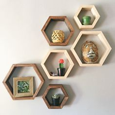 Set of 3 Hexagon Shelves by Taute on Etsy https://www.etsy.com/listing/482718611/set-of-3-hexagon-shelves