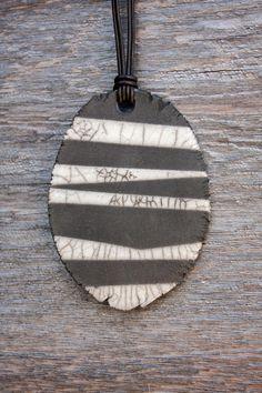 Raku Ceramic Necklace Lightweight Black and White Crackle Zebra Leather Adjustable Cord via Etsy