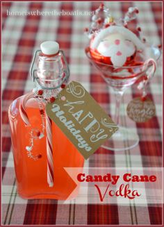 Making Spirits Bright: Candy Cane Vodka, ready to gift or sip in 3 hours! http://homeiswheretheboatis.net/ #holidayspirits