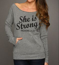 She Is Strong Eco Fleece Raw Edge Sweatshirt. Off by WorkItWear - Fleece Shirt -ideas of Fleece Shirt - She Is Strong Eco Fleece Raw Edge Sweatshirt. Off by WorkItWear Christian Clothing, Christian Shirts, Christian Apparel, T Shirt, Graphic Sweatshirt, Gray Shirt, Grey Sweatshirt, T-shirt Logo, Be Strong And Courageous