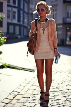 Cream dress, peach sweater and statement necklace