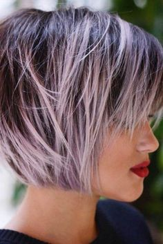 100 Mind-Blowing Short Hairstyles for Fine Hair Pastel Purple Balayage For Brown Bob Short Thin Hair, Short Hair Cuts For Women, Short Hair Styles, Straight Hair, Short Bobs, Short Lavender Hair, Fine Hair Styles For Women, Bob Styles, Short Choppy Haircuts