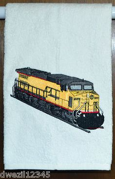 LOCOMOTIVE TRAIN - REALISTIC - ONE EMBROIDERED HAND TOWEL by Susan