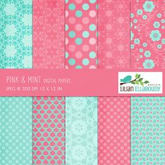 Hey, I found this really awesome Etsy listing at https://www.etsy.com/listing/152142370/pink-and-mint-digital-papers-textured