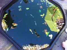 Under the sea in a tuff spot tray! Nursery Crafts, Nursery Activities, Teaching Activities, Preschool Activities, Outdoor Activities, Nursery Ideas, Early Years Classroom, Tuff Spot, Tuff Tray