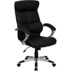 leather executive high back office chair with lumbar support black