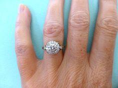 Antique Edwardian 18ct Diamond daisy cluster engagement ring-Vintage English 1920's wedding