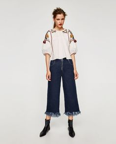 ZARA - WOMAN - EMBROIDERED TOP WITH POMPOMS