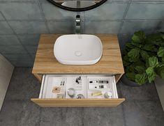 Helix Matte White Basin | City 50 Vanity | St Michel Bathroomware Designed & Made in New Zealand Bathroom Storage Solutions, Bath Caddy, Vanity, Basins, Design, Restroom Decoration, Dressing Tables, Powder Room, Makeup Dresser