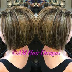 Fall lowlight with honey babylights angled bob short hair AM Hair Designs at Star Image