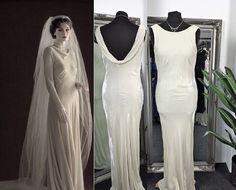 Cowl Wedding Dress, Art Deco Wedding Dress, Gatsby Wedding Dress, Vintage Style Wedding Dresses, Prom Dresses Gatsby, 1920s Fashion Dresses, 1930s Style, Bias Cut Dress, Vintage Velvet