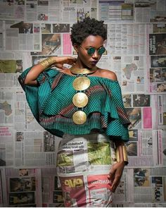 This piece is entirely brass material plates but joined with recycled glass beads(any colour).the circular brass plates suspend on a brass collar.it can also be customised in silver colour using aluminium metal plates African Inspired Fashion, African Print Fashion, Africa Fashion, Ethnic Fashion, Look Fashion, Fashion Prints, African Print Dresses, African Fashion Dresses, African Dress