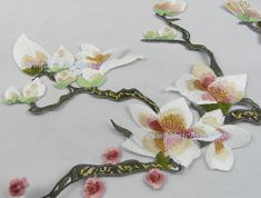 Orchid Appliqués. Embroidered applique. Rich color and delicate. There is no adhesive on this applique. 700+ Craft supplies on SALE. Ship worldwide.   ▼ ▲ PRODUCT INFO ▲▼  Unit price per one piece Size: 49 x 21 cm Color options: - White (Photo 1) - Red (Photo 2)   Model: LA100021  More Appliques >> https://www.etsy.com/shop/fabricAsians?section_id=17168432  SILK Fabric Upto 15% OFF >> http://www.fabricAsians.etsy.com  ▲▼ CARE ▲▼ - Dry clean or ha...