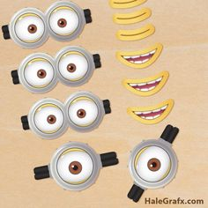 FREE Printable Despicable Me 2 Minion Goggles and Mouths. Could use these for minion bananas in lunch boxes. Minion Theme, Minion Birthday, Minion Party, Boy Birthday, Birthday Ideas, Fete Marie, Minion Goggles, Despicable Me 2 Minions, Twinkie Minions