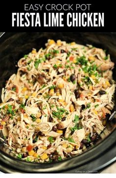 Crock Pot Fiesta Chicken Recipe is perfect for tacos, salads, burrito bowls and more! Toss everything into the slow cooker and dinner will be ready with very little work. Crock Pot Fiesta Chicken Recipe This simple and delicious Slow Cooker Recipes, Beef Recipes, Mexican Food Recipes, Recipies, Healthy Recipes, Seafood Recipes, Fast Recipes, Family Recipes, Low Fat Crockpot Recipes