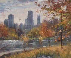 Lincoln Park, Autumn \\ Artist - Eugene J. Paprocki