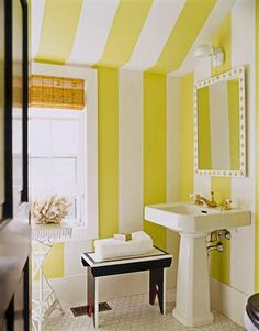 yellow stripes for my interior interior design decorating before and after bathroom design design ideas Coastal Bathrooms, Yellow Bathrooms, White Bathroom, Modern Bathroom, Pool Bathroom, Small Bathrooms, Master Bathroom, Bathroom Green, Downstairs Bathroom