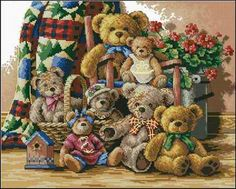 Teddy Bear Gathering da Dimensions - Gold Collection - Kit Ricamo - Casa Cenina