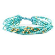 Turquoise Mix Multi Strand Breaded Cluster Bracelet