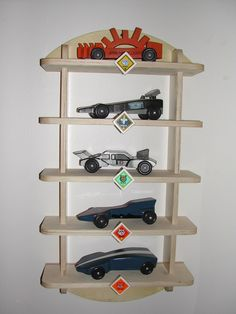 Awesome idea to display Pinewood Derby cars. Two boys to go through scouts still. This could be handy.