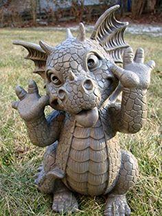MC - Figura decorativa para jardín, diseño de dragón haciendo burla