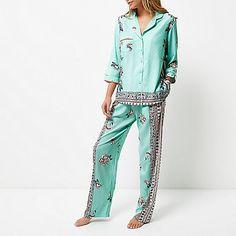 Blue floral print pyjama top - pyjamas / loungewear - Lingerie & Nightwear - women