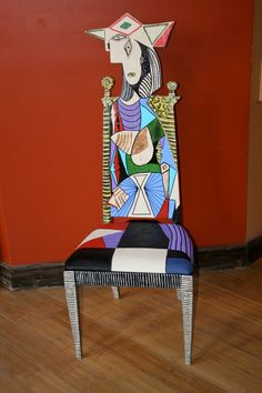 Picasso Woman in Garden chair by FendosArt on Etsy, $595.00