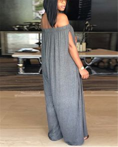 Get an instant style update this season with this casual jumpsuit. This is a plain, split sleeve, off shoulder, all-in-one jumpsuit. This regular jumpsuit is made from polyester Long Jumpsuits, Jumpsuits For Women, Casual Jumpsuit, Jumpsuit Outfit, Shirt Dress, Jumpsuit With Sleeves, Online Shopping Clothes, Fashion Pants, Pattern Fashion