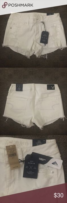 American Eagle white shorts Never worn. Tags still on! American Eagle low rise shortie. American Eagle Outfitters Shorts Jean Shorts