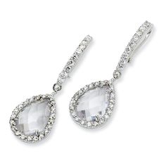 Sterling silver 2-piece dangling earrings with checkercut pear shape cubic zirconias in halo setting.