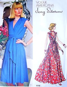 1970s BEAUTIFUL Jerry Silverman Wrap Dress or Evening Maxi Pattern VOGUE Americana 1116 V neckline Figure Flattering Bust 36 Vintage Couture Sewing Pattern UNCUT