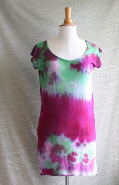 Tunic Mini Dress Hand Dyed Magenta Green Pink by Bliss Joy Bull via Etsy
