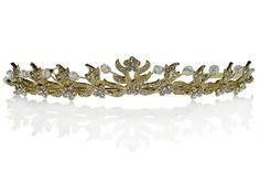 SparklyCrystal Rhinestone Bridal Wedding Prom Gold Crystal Tiara Crown 1053G6