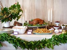 Thanksgiving buffet setup - love how they use different heights!