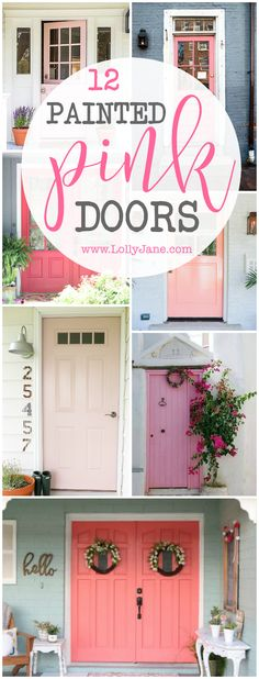 12 painted pink door ideas, sooo cute! LOVE this pink front doors, such fun ways to dress up your porch! LOVING these pink front door ideas!