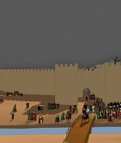 A muralha e a Porta da Vila, tal como existiria no século XV, com uma ponte sobre a antiga Ribeira dos Touros, hoje tapada