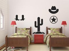 Cowboy removable wall decal set of 5 pieces. Includes 1 Hat, 1 Star, 1 Cactus, and 2 Boots. Available in two sizes. Easy-to-use peel and stick design. A fun DIY home decor solution, ideal for a nursery or kid's room. Kids Wall Decals, Removable Wall Decals, Boy Room, Kids Room, Instagram Wall, Diy Home Decor, Room Decor, Toddler Bed, Fun Diy