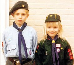 Child's play: Katie and her brother Paul in their Scouts uniform January 2011