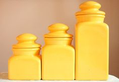 ceramic kitchen canister sets sunny yellow canister set 1970s