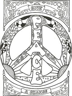 Hippie Coloring Pages | My PEACE SIGN art Coloring Books are now available on ETSY. Check it ..