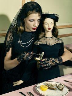 """Solo Mourning"" | Model: Anna Iaryn, Photographers: Sofia Sanchez and Mauro Mongiello, Vogue Japan, April 2009"