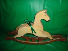 """Wood Rocking Horse Holiday Home Decor 23"""" long novelty collectible find me at www.dandeepop.com #dandeepop"""
