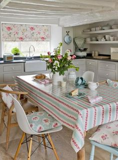 Clarke & Clarke CHLOE PVC coated 100% Cotton Oilcloth Tablecloth | eBay