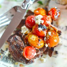 ... steak rests, grill cherry tomatoes and toss with blue cheese for a