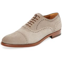 Antonio Maurizi Antonio Maurizi Men's Medallion Brogue Cap-Toe Oxford... (375 CAD) ❤ liked on Polyvore featuring men's fashion, men's shoes, men's oxfords, dark beige, mens oxford shoes, mens shoes, mens brogues, mens lace up shoes and mens brogue shoes