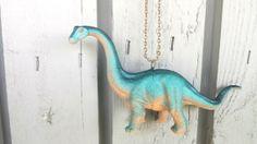 Dinosaur long chain necklace original by ZeeesCloset on Etsy, $10.00