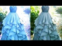 Designer dress /long gown cutting and stitching. Long Gown Pattern, Drape Dress Pattern, Gown Dress Party Wear, Long Gown Dress, Girls Dresses Sewing, Frocks For Girls, Long Frocks For Kids, Kids Frocks Design, Baby Frocks Designs